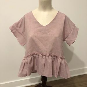 Short Sleeve Pink Peplum Top